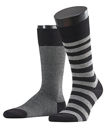 ESPRIT Herren Socken Piqué Stripe 2-Pack, Baumwollmischung, 2 Paar, Schwarz (Black 3000), Größe: 43-46