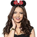 Hatstar Haarreifen mit Maus Ohren | Mouse Ears in schwarz mit roter Schleife und weißen Punkten für Kinder und Erwachsene (Maus Ohren rot | 1er Pack)