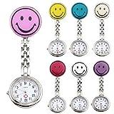 JSDDE Uhren,7x Krankenschwester FOB-Uhr Rund Lächeln Emoticon Damen Herren Schwesternuhr Taschenuhr Quarzuhr Uhren Set