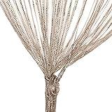 Glitzerfaden-Vorhang, Quaste Fadenvorhang, Raumteiler-Gardine als Raumteiler Fliegenschutz oder als festliche saisonale Dekoration 100cm x 200cm,Champagner