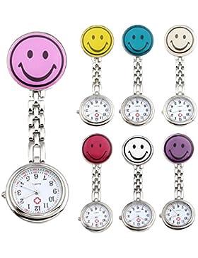 JSDDE Uhren,7x Krankenschwester FOB-Uhr Rund Lächeln Emoticon Damen Herren Schwesternuhr Taschenuhr Quarzuhr Uhren...