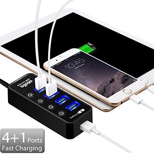 Atolla Hub Cargador USB 3.0 con 4 puertos y 1 puerto de carga rápida adicional con interruptor LED