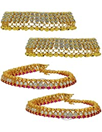 High Trendz Combo Of Two Bollywood Style Ethnic Gold Plated Anklets With Ghungroos, Cz Stones And Kundan Studded... - B06XJ5MK3Q