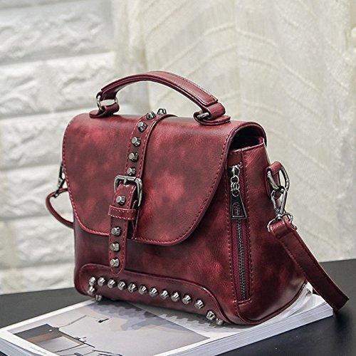 Burenqi@ Handtasche/Reißverschlusstasche/Schulter messenger bag/personalisierte Nieten kleine Partei/Tasche Retro Tasche, Wein rot
