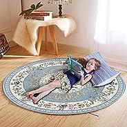 سجادة ارضية دائرية 120 سم، نمط عتيق، مضادة للانزلاق، قابل للغسل في الغسالة الالية، لغرفة المعيشة وغرفة الطعام