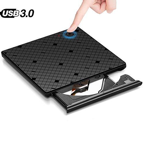YKSBOOT Brenner USB 3.0 Externes DVD-Laufwerk Portatil Player Optisches CD/DVD-RW-Laufwerk für HP Laptops PC Notebook,Schwarz