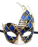 Masque de Masque de Masque Masque Vintage Masque Vénitien à Carreaux Mardi Gras (Bleu / Noir)