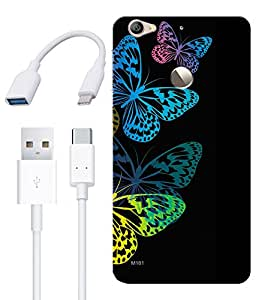 Combo of Neon Butterflies HD UV Printed Mobile Back Cover, Charging Cable and OTG Cable For Letv Le 1S