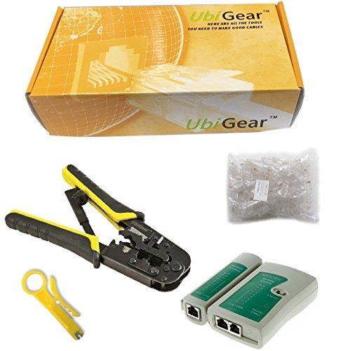 Preisvergleich Produktbild UbiGear Cable Tester +Crimp Crimper +100 RJ45 CAT5 CAT5e Connector Plug Network Tool Kits (Crimper568R) by UbiGear