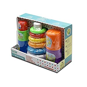 Tachan- Set piramide + Cubos apilables 2 en 1, Multicolor (PL201-204)