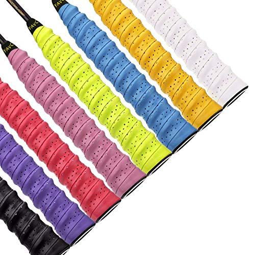 QH-Shop Griffbänder Tennis Badminton Schläger Mehrfarbig Overgrip für Anti-Rutsch-und saugfähigen Griff 8 Stück