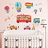 Decowall DA-1610 Animal Bus and Transport Kids Wall Stickers Wall Decals Peel and Stick Removable Wall Stickers for Kids Nursery Bedroom Living Room