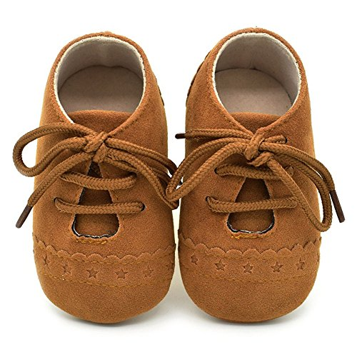 Zapatos de bebé, Zapatillas de bebé niño Anti-Slip Suave Suela de Encaje Zapatos 0-18 Meses (0-6 Meses, Brown)