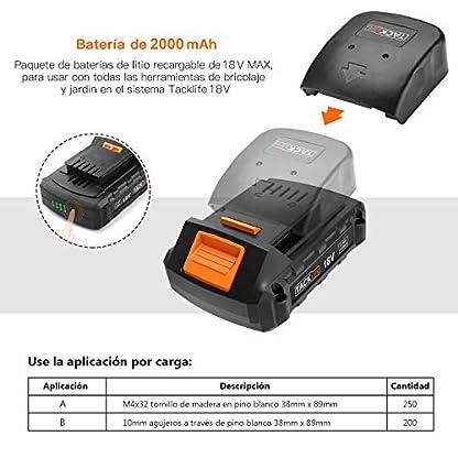 Taladro Atornillador TACKLIFE PCD04C 18V, 2.0Ah de Litio, 13mm Mandril Automática, 2 Velocidades, 16 Configuraciones, 3 Posiciones Taladrado, Atornillado, Percusión