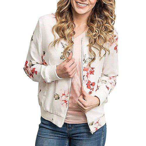 Damen Blazer Strickjacke Sweatshirt mit Reissverschluss Streetwear Frühling Blouson MYMYG Floral Baseball Mantel Tops Coat Bomberjacke Bikerjacke Fliegerjacke Kurzjacke (EU:38/CN-M, D1-Weiß) -