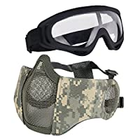 Aoutacc Airsoft Protective Gear Set, Half Face Mesh Masks with Ear Protection and Goggles Set for CS/Hunting/Paintball/Shooting (ACU)