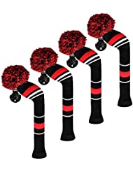 Scott Edward Housses de tête de club de golf hybride/utilitaires, 4 pièces emballées, avertissement Stripes, fil Acrylique Double-layers en tricot, avec rotatif Nombre balises, 3 couleurs en option, Red
