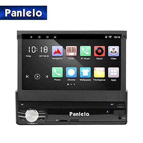 Autoradio,Panlelo T1 Single DIN GPS Navigation Head Unit mit Android 6.0,Quad Core,Touchscreen,klappbarem Bildschirm,1G RAM 16G ROM, Auto Radio Audio eingebaut AM / FM BT WiFi Lenkradsteuerung In-Dash
