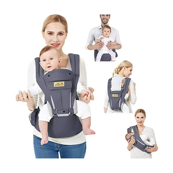 Viedouce Baby Carrier Ergonomic for Newborn,Pure Cotton Front Back Child Carrier with Detachable Hood Multi-Position Soft Backpack Carrier,Complete Safety Protection(0-48 Months) (Dark Gray) Viedouce 【More environmentally friendly】-Baby carrier has high quality pure cotton fabric with 3D breathable mesh take care of your health and the health of your baby; The detachable sun visor and wind cap provide warmth in the winter and freshness in the summer. At the same time, the zipper buckle is designed for easy disassembly and cleaning. 【More ergonomic】 -Baby carrier for newborn has an enlarged arc stool to better support the baby's thighs, the M design that allows the knees to be higher than the buttocks when your baby sits, is more ergonomic. 【Comfort and safety】 - The area near the abdomen is filled with a soft and thick sponge, reduces the pressure on the abdomen and gives more comfort to you and your baby. High quality professional safety buckles and attach, shock absorbing pads, are equipped to protect your baby. 1
