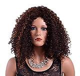 A.Monamour Mittlere Schulterlänge Braune Brünette Kinky Lockige Bob Afro Perücke Mit Strähnen Für Afroamerikaner Frauen