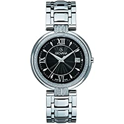 GROVANA 2097.7137 Unisex Quartz Swiss Watch with Black Dial Analogue Display and Silver Stainless Steel Bracelet