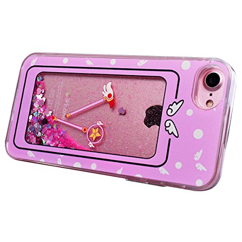 WE LOVE CASE iPhone 7 / iPhone 8 Cover Unicorno Bianco Glitter Transparente Quicksand Liquido Diamante Liquid Sabbie Mobili Amore Stella iPhone 7 / iPhone 8 4,7 Custodia Oro Cassa Duro del PC di Plas Magic