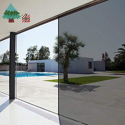 LifeTree Film Solaire Fenêtre Electrostatique Anti Chaleur Anti-Regard Adhésif Occultant Noir Film Vitrage pour Maison Bureau Magasin Argent 60 x 200cm