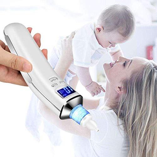 Aspirador Nasal para bebés,  Aspiradores Nasales,  Aspirador de Nasal Eléctrico,  Pantalla LCD de carga USB con 5 niveles de succión 4 tamaños Puntas de silicona,  Portátil aspirador nasal para recién