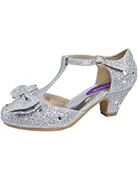 8815a4898055 Lora Dora Girls Mary Jane Low Heel Glitter Party Shoes