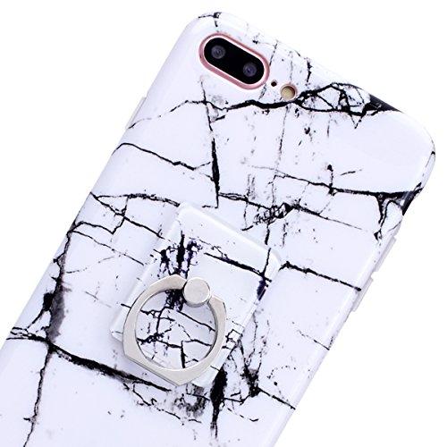 GrandEver iPhone 8 Plus Hülle Weiche Silikon mit Ring Ständer Halter Marmor Muster Handyhülle TPU Bumper Schutzhülle für iPhone 8 Plus Rückschale Klar Handytasche Anti-Kratzer Stoßdämpfung Ultra Slim  Weiß