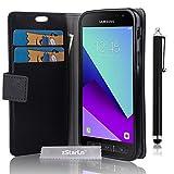zStarLn nior Luxe Portefeuille Etui Housse pour Samsung Galaxy Xcover 4 Coque en cuir + 3 Films en Stylet Touch Pen OFFERTS