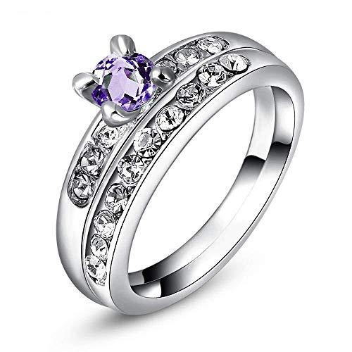 JingBiaoMaoYi Damen Ehering Weißgold plattiert lila CZ Diamant Braut Ring for Engagement (Color : K, Größe : Us8#)