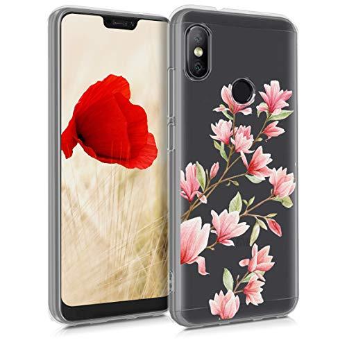 kwmobile Funda para Xiaomi Redmi 6 Pro/Mi A2 Lite - Carcasa de TPU para móvil y diseño de Magnolias en Rosa Claro/Blanco/Transparente