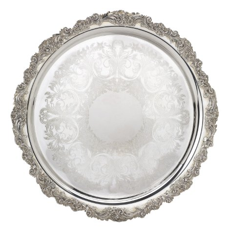 Reed & Barton S-2302 Silver Plated Engravable Round Tray, 13-Inch, Burgundy by Reed & Barton -