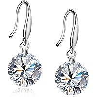 Joyfulshine Drop Earrings Dangle Women Jewellery 925 Sterling Silver Round Cubic Zirconia Hooks for Ladies AOXV8z