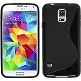 Coque en Silicone pour Samsung Galaxy S5 mini - S-Style noir - Cover PhoneNatic Cubierta + films de protection