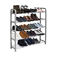KEPLIN 5 Tier Shoe Rack Organiser, Quick Assembly No Tools Required, Holds upto 15-20 pairs (L) 71cm x (W) 18cm x (H) 76cm (Grey)