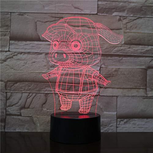 3D Schwein Anime Visuelle Lampe Optische Täuschung Led Nachtlicht, Erstaunliche 7 Farben Form Berührungsempfindliche Schalter Lampen Mit Acryl Flach, Abs Basis, Usb Gebühr Für Wohnkultur