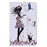 DETUOSI Funda Tablet Samsung Galaxy Tab A 10.1 Ultra Slim Funda de PU Cuero Smart Cover Case Carcasa con Función del Soporte y Ranuras de Tarjetas para SM-T580/SM-T585 -Chica Mariposa