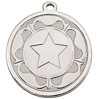 45mm Star Rosette Medal in Gold Silver or Bronze with Free Engraving up to 30 Letters Plus Free Ribbon (Silver AM1090.02)