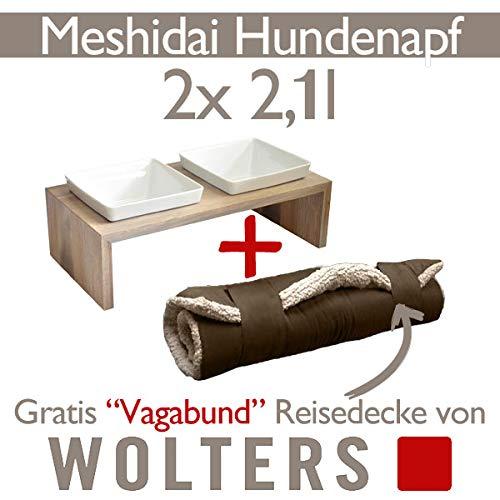 Wolters Hunde Katzen Futterstation Meshidai 2 x 2,1 L grau - Schiefer + Reisedecke Vagabund Doppelnapf Hundenapf