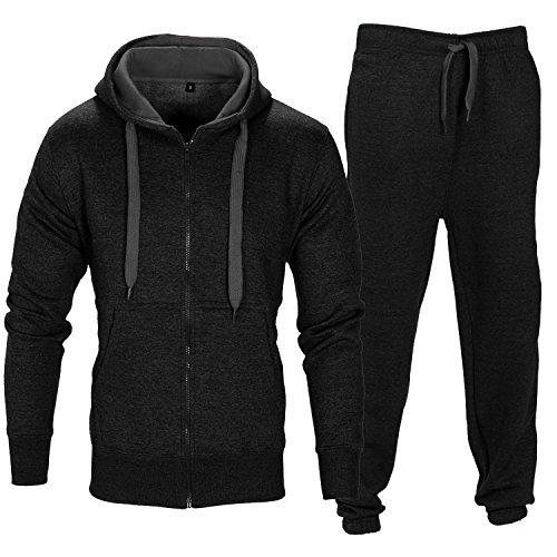 Mens Plain Drawstring Fleece Set Hoodie Top Bottoms Tracksuit - Black