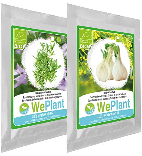 BIO Summer Savory & Florence Fennel herb Plant Seeds Set - Indoor/Outdoor
