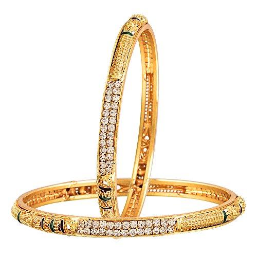 Sitashi Ad American Diamond Imitation Yellow Brass Bangle Set For Women  available at amazon for Rs.239