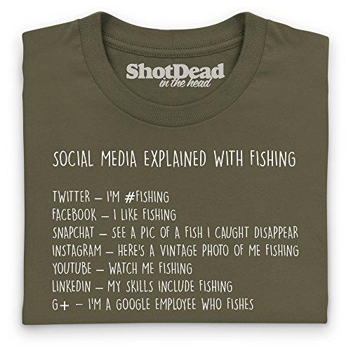 Social Media Explained - Fishing T-Shirt, Herren Olivgrn