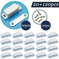 Jazzka armario cierre magnético puerta para armario 20 en 1 kit con 120pcs tornillos blanco