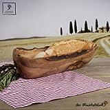 Baguetteschale Brotschale Schale aus Holz, Olivenholz naturbelassener Rand (30 Zentimeter)