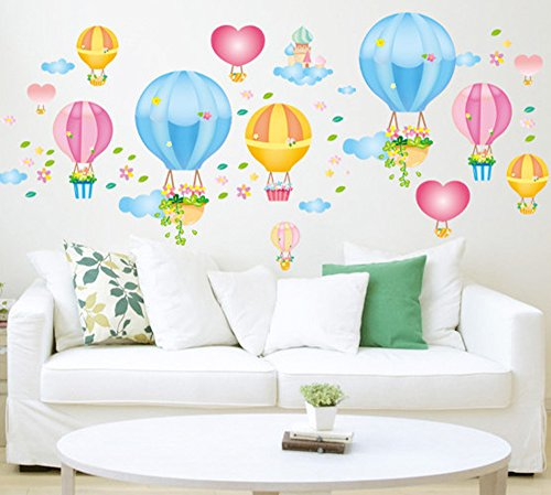 ufengke® DIY Colorata Mongolfiera Adesivi Murali, Camera dei Bambini Vivai Adesivi da Parete ...