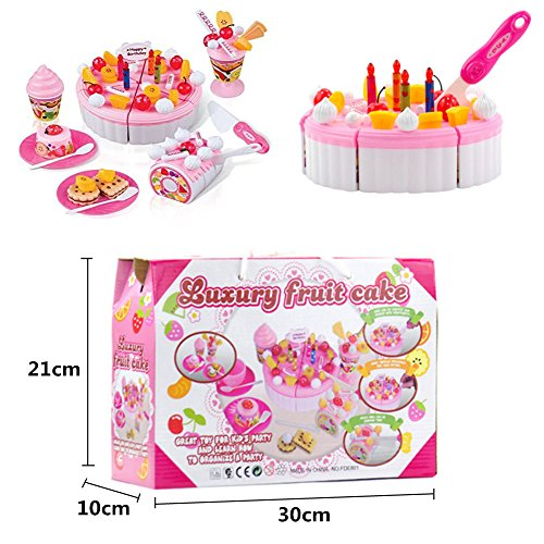 Onshine DIY Cutting Birthday Cake Dessert Pretend Play Food Toys With Candles For Kids Girls Pink