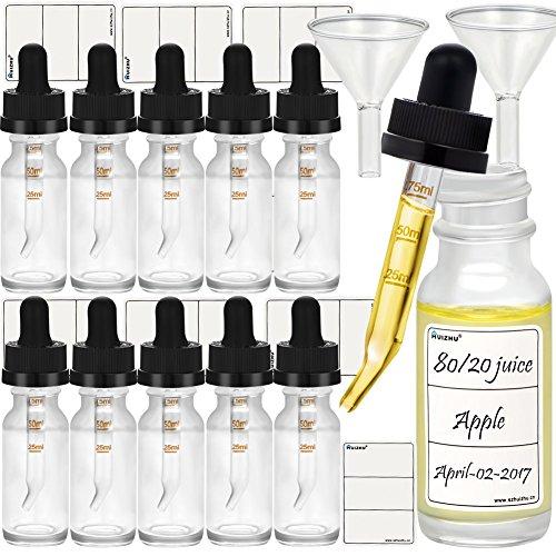 s Tropfflasche elektronische Zigarette Flasche ätherisches Öl Flasche mit skalierten Pipette Trichter und Tags (Transparent, 15ml x 12pcs) ()